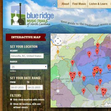 Blue Ridge Music Trails website screenshot