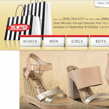 Tops For Shoes website screenshot