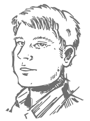 Drawing of Bill Nixdorf's Head